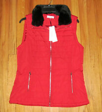 Calvin Klein Womens Red Vest Black Fur Collar Vest M NWT $89