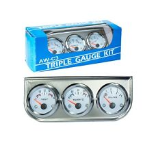 2'' 52mm Chrome Car Triple Gauges Set Water Temp Oil Pressure Voltage Volt 3in1