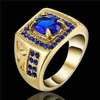 Jewelry Size 8 Fashion Blue Sapphire Gold Rhodium Plated Men's Engagement Ring