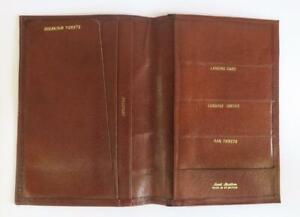 VINTAGE MID CENTURY BROWN LEATHER TRAVEL ORGANISER WALLET  PASSPORT TICKETS ETC