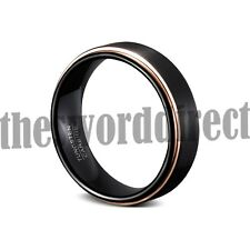 Matte Black Tungsten Brushed & Rose Gold Plated Edges Wedding Ring Mens Jewelry