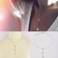 Fashion Popular Gold Alloy Star Pendant Lady Chain Choker Long Necklace Jewelry