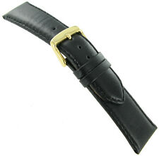 22mm deBeer Paris Smooth Leather Handcrafted Black Padded Watch Band Short
