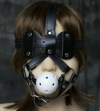 TTM106 Open Oral Mouth Ball Gag PU Leather Eye Mask Straps Head Harness party