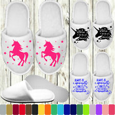 UNICORN WHITE SLIPPERS PERSONALISED PRINT NOVELTY PARTY SPA CLOSED TOE HEN HORSE