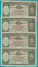 1942 Australia One Pound FOUR CONSECUTIVE NOTES =SUPER RARE=