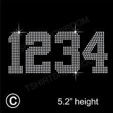 4 Numbers Rhinestone / Diamante Transfer Hotfix Iron on Motif  + Free Gift