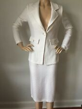 NWT St John Knit suit skirt jacket size 8 bright white ribbon tweed wool rayon