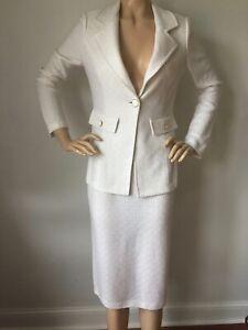 NWT St John Knit suit skirt jacket size 10 bright white ribbon tweed wool rayon
