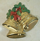 Vtg Burwood Christmas Trio Gold Bells Holly Wall Hanging Plaque HOMCO-NICE cond!