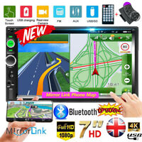 "Car Stereo Radio Bluetooth Double 2 Din 7"" USB FM AUX IN IOS/Android Mirror Link"