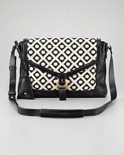 NWT DVF Drew Connect Dia Leather Crossbody Jacquard Bag in Cream & Black Purse