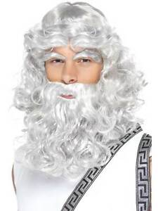 Long Grey Wavy Wig, Zeus Wig With Beard And Eyebrows, Ancient Greece