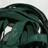 EVERGREEN Green Silk Ribbons, Hand Dyed Qty 5 JamnGlass Crinkle Strings Forest