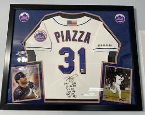 Mike Piazza Signed Mets Stat Inscribed Jersey 9/11 Patch AUTO FANATICS Hologram