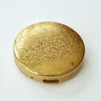 Estee Lauder Compact  Evening Rose Pan Powder Etched Floral Design Gold Vintage