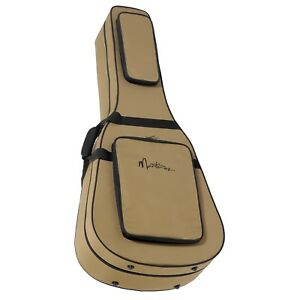 NEW Martinez Deluxe Polyfoam Shaped Dreadnought Acoustic Guitar Case (Brown)