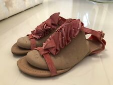 ATMOSPHERE CORAL SUEDE FRILLED FLAT STRAPPY SANDALS – UK SIZE 5 EU 38