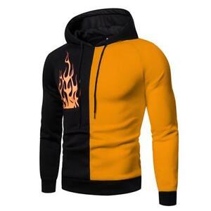 Mens Sweatshirt Hooded Long Sleeve Hoodies Tops Slim Fit Patchwork Pullover Top