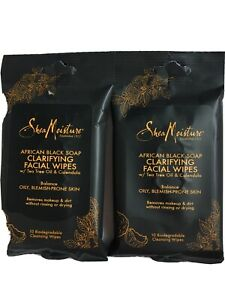 Lot Of 2 Packages Shea Moisture African Black Soap Clarifying Facial Wipes