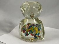 "Vintage Blown Clear Glass Owl Paperweight Figurine w/ Millefiori Belly 5"""
