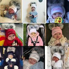Personalised Hats Girls & Boys Lovely Knitted Pom Pom Hats 0-6 years