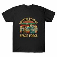 United States Space Force Funny Astronaut Vintage T-Shirt Black Cotton Men's Tee