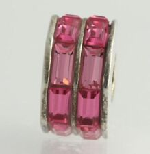 NEW Chamilia Bead Charm - Sterling Silver Double Baguette Pink 2083-0399 Crystal