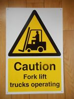 Caution Fork Lift Trucks Operating sign Plastic Pre-Drilled Holed 600 X 400mm