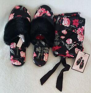 Victoria's Secret Signature Satin Slippers & Matching Bag Black Floral 5/6