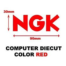 "4x NGK DIE CUT STICKER DECAL ""RED"" SWINGARM COVER FAIRING 30mm x 90mm"