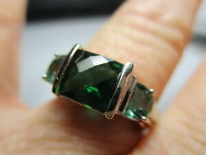STERLING SILVER 925 ROSS SIMONS GREEN BERYL AND APATITE TRILOGY BAND RING SIZE 6