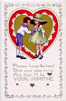 Vintage Valentine~LITTLE BOY GIVES GIRL HIS HEART~GOLD Embossed Whitney Postcard