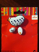 Vintage Sevi Handpainted Chicken & Eggs Pin from 1993