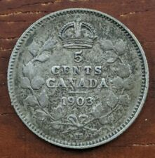 1903 H Canada 5 Cents Silver Coin Edward Half Dime Foreign Canadian F Lot C34