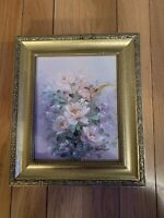 Oil On Wood Painting Vintage Still Life Flower Signed 11.8x13.8 and 8x10 Inches