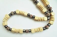 "ETHNIC INSPIRED MENS 20"" TRIBAL SURFER CHUNKY CREAM WOOD GREY CLAY BEAD NECKLACE"