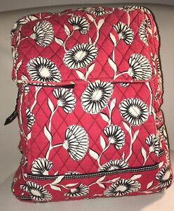 VERA BRADLEY Deco Daisy Bookbag Backpack Red White Black Houndstooth  Lining