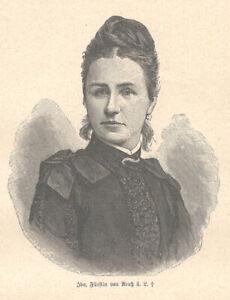 Ida,Fürstin von Reuß-Greiz 1852-1891 Prinzessin-Schaumburg-Lippe Holzstich 1892