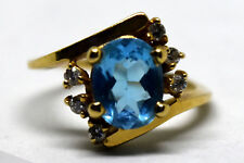 Vintage 14K Solid Gold, Natural Topaz and Diamond Ring Size 6