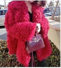 Womens Red Faux Fur Lapel Parka Outerwear Winter Warm Jacket Fashion Coat W789##