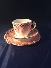 RARE VICTORIAN CHINA TEA TRIO PINK IVY AND FERN PATTERN GILDED
