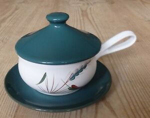 Denby Greenwheat Soup bowl with Lids and saucer X 1