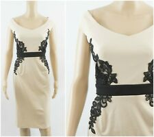 Little Mistress Bardot Embroidery Applique Midi Dress Cream