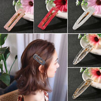 Korea Shiny Acetic Acide Hair Clips Solid Acrylic Geometric Waterdrop Hairpins