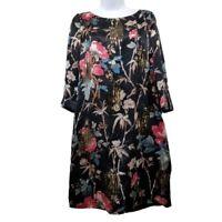 Monsoon 8 Floral Shift Dress Silk Bling Sequins Evening Formal Gown Lighweight