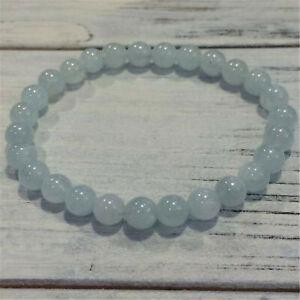 Fashion sky blue Aquamarine Beads Handmade Bracelet Natural Buddhism Mala