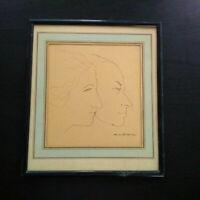 Marcel Roche superbe dessin à la plume portrait couple artistes signé années 30