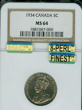 1934 CANADA 5 CENTS NGC MS64 FAR RIM 8PERL MAC 8PERL MAC FINEST MAC SPOTLESS *