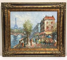 W. BURNETT Paris Street Scene ORIGINAL Oil Painting On Canvas, Framed Fine Art